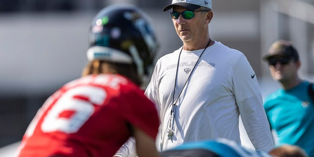 Head coach Urban Meyer of the Jacksonville Jaguars looks on during training camp at TIAA Bank Field on July 28, 2021 in Jacksonville, Florida.