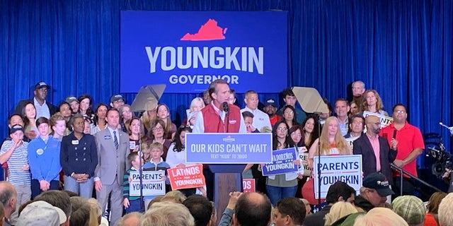 Glenn Youngkin addresses the crowd in Burke, Va.
