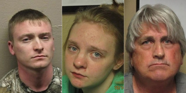 From left are suspects Eric Nanney, Kaitlyn Morgan and Ricky Nanney.