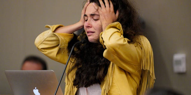 Hannah Kaye paused to retaliate before giving the injured a sentence during the sentencing hearing of John T. Earnest in the Supreme Court, China, September 30, 2021, in San Diego.  (Nelvin C. Cepeda / The San Diego Union-Tribune via AP)