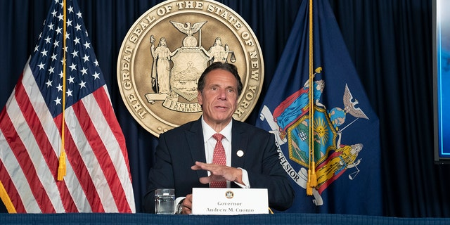 Andrew Cuomo, then-governor of New York, speaks about the COVID-19 delta variant during a press briefing.
