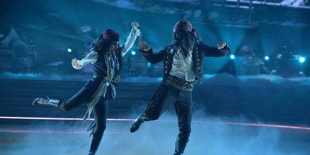 Sharna Burgess and Brian Austin Green danced to 'He's a Pirate' from 'Pirates of the Caribbean: The Curse Of The Black Pearl.'