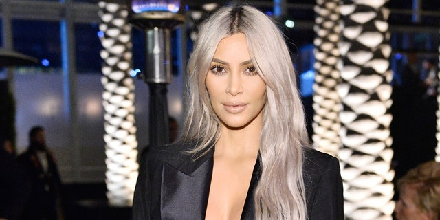 Kim Kardashian West donning silver hair back in 2017.