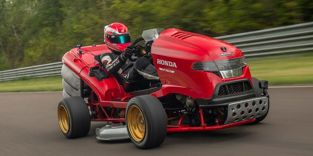 The Mean Mower is powered by a 200 hp engine from a Fireblade motorcycle.