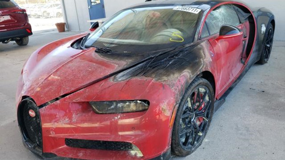 Singer's burned $3 million Bugatti listed at a discount price on auction site