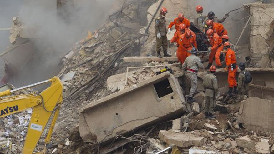 Raw video: Three multistory structures crumble to ground causing multiple deaths