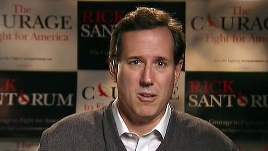 2012 candidate Rick Santorum gives an update on his daughter's hospitalization and discusses his plans to stay in the race