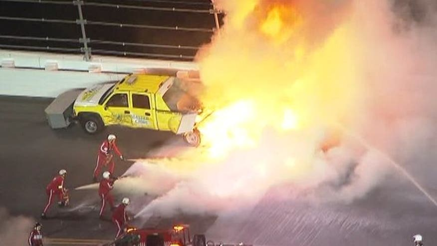 Juan Pablo Montoya hit a truck packed with jet fuel with 40 laps to go to cap a bizarre Daytona 500.
