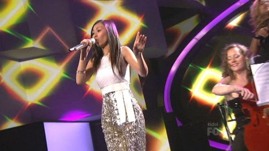 Jessica Sanchez struggled to keep her big vocals in rhythm with the fast-paced conga beats of the song Turn the Beat Around.