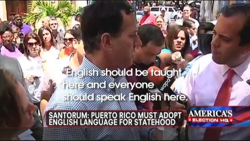 Rick Santorum clarifies his statement that Puerto Rico must adopt English language for statehood.