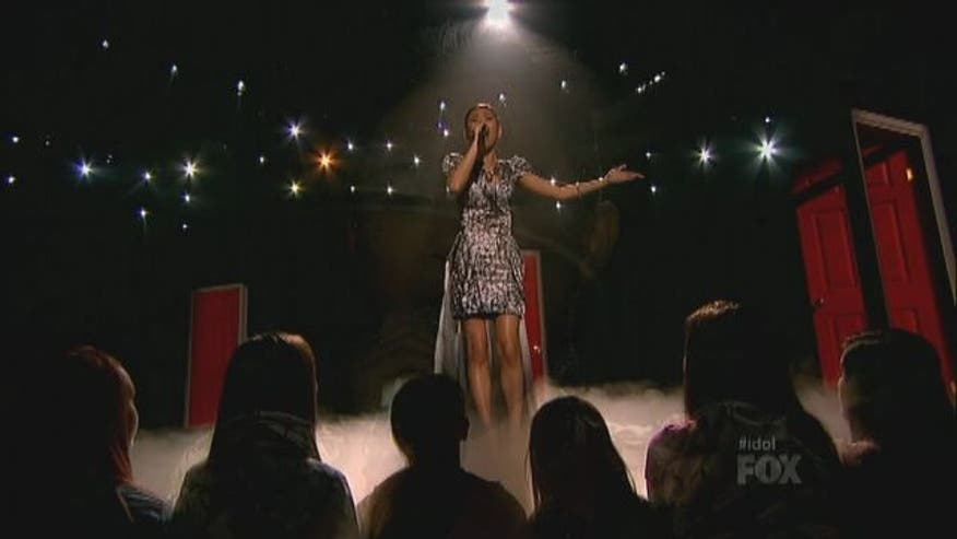 "Jessica Sanchez serenades the judges with a rendition of the song ""Sweet Dreams."""