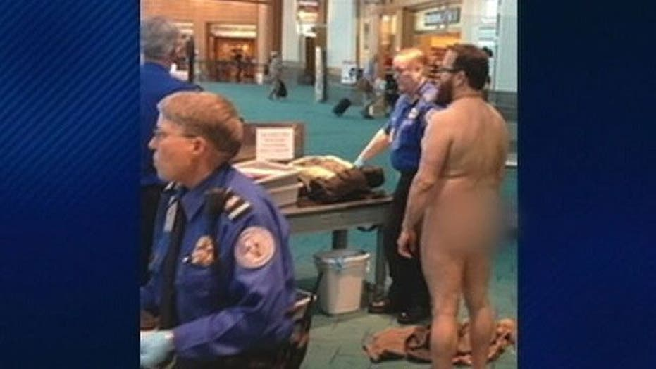 Naked passenger protests treatment from airport security