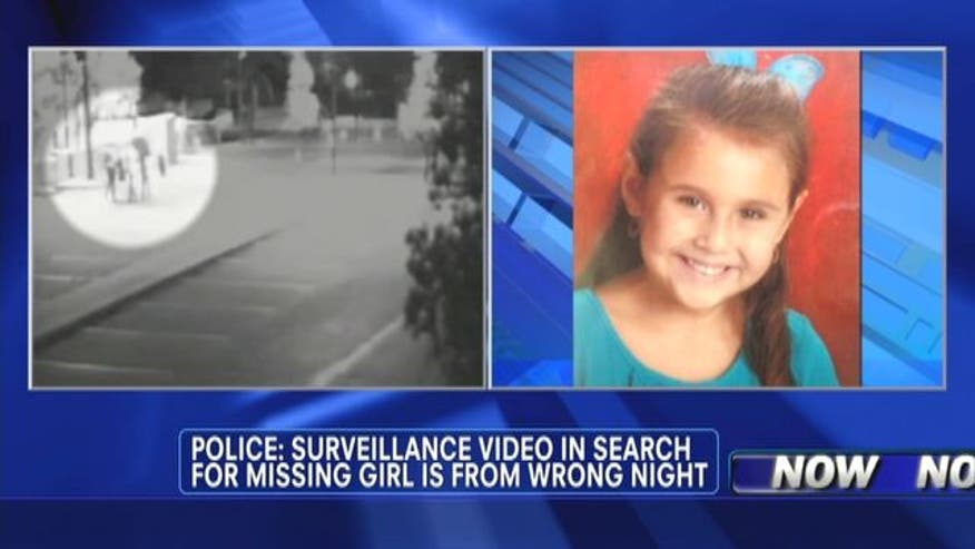 Police say surveillance video in search for missing girl is from wrong night.