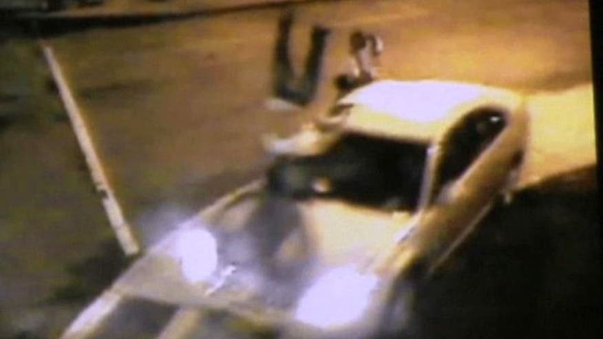Surveillance video shows violent crash in New York