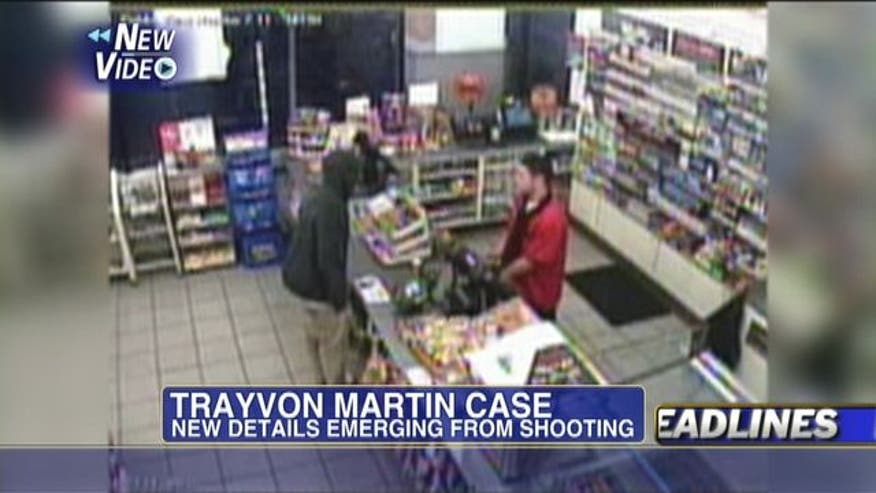 New video shows Trayvon Martin buying skittles and a drink before shooting. Pictures show a bruised and cut Zimmerman.