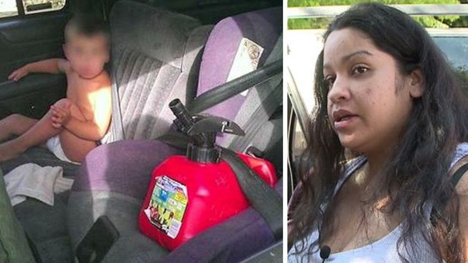 Mother sets record straight on buckled-up gas can pic