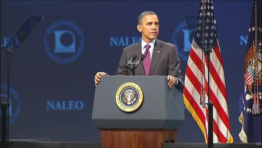 President Obama addresses Latino leaders about immigration policy.