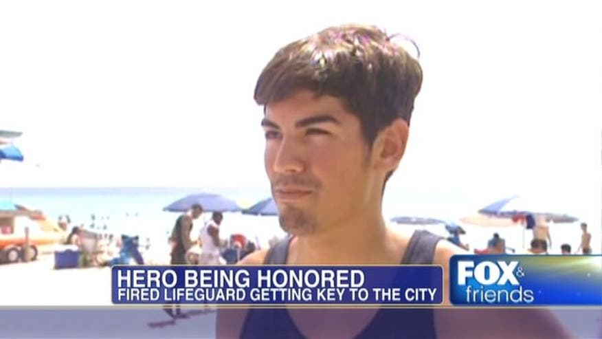 Hero lifeguard getting key to the city after being fired for saving man out of his assigned beach zone.