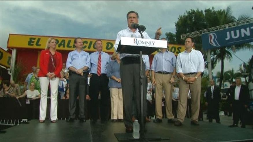 Republican Presidential Nominee Mitt Romney holds a rally at El Palacio De Los Jugos in Miami, Florida.