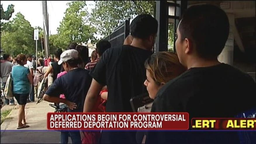 Applications begin for Obama's controversial deferred deportation program.