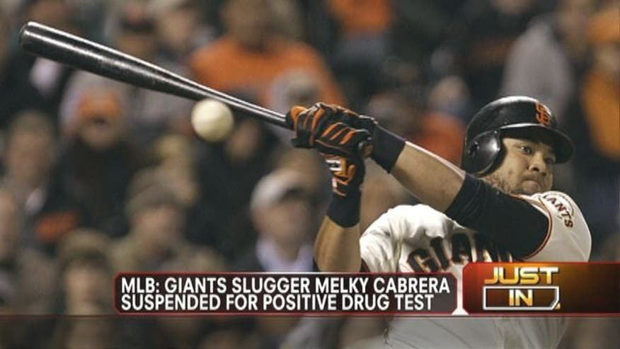 Giants Slugger Melky Cabrera suspended for positive drug test.