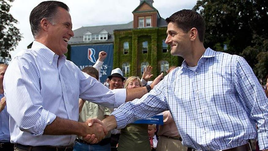 Romney, Ryan take aim at Obama in NH