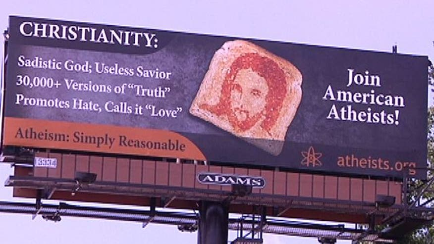 Controversial anti-Christian billboards have been put up in Charlotte, strategically planned around the Democratic National Convention.