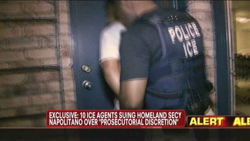 Ten ICE agents suing Secretary of Homeland Security Janet Napolitano.