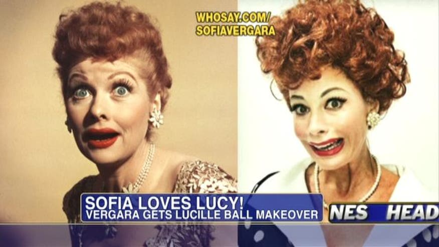 Actress Sofia Vergara tweets photo of her Lucille Ball makeover.
