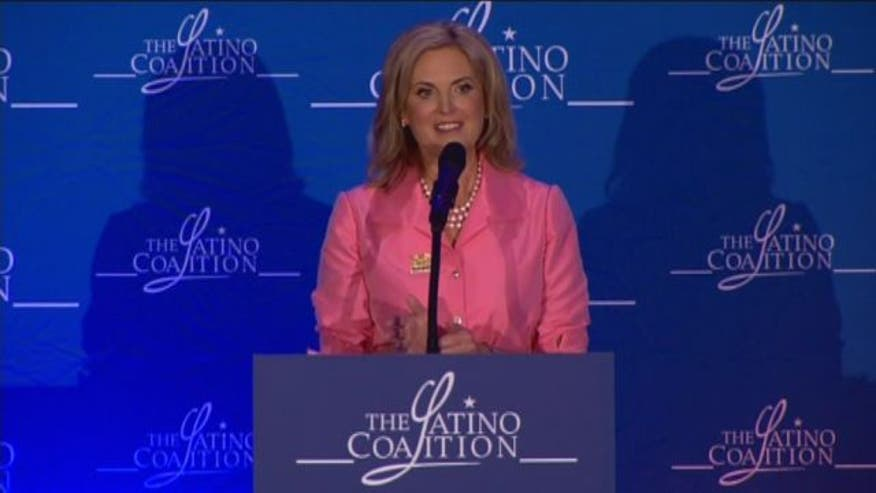 Ann Romney speaks at the Latino Coalition Luncheon in Tampa, Florida.