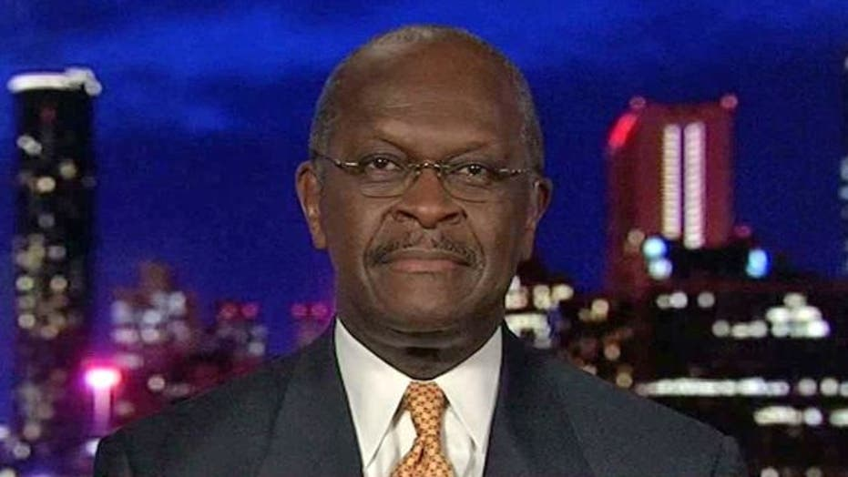 Cain on Dems vs. Tea Party and Jobs
