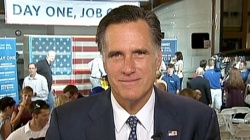 GOP 2012 hopeful Mitt Romney explains his jobs plan, why Obama has a 'pay phone strategy for a Smart Phone world' and how he'll handle Perry's momentum