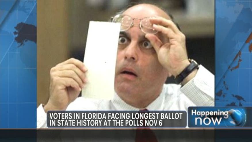 Voters in Florida will be facing the longest ballot in the state's  history at the polls on November 6th.