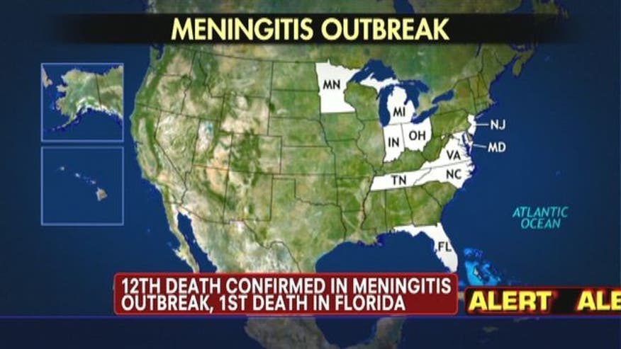 So far 12 people have been confirmed dead by the meningitis outbreak linked to a steroid injection that was given across the country for joint and back pain, with Florida becoming the latest state to report a fatality.