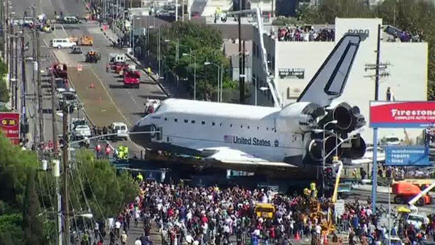 Special 'mesh' security cameras set up by the LAPD ensured the safety of space shuttle Endeavour on its final journey