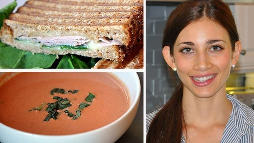 Tomato basil soup, ham and cheese panini, and balsamic mustard salad dressing