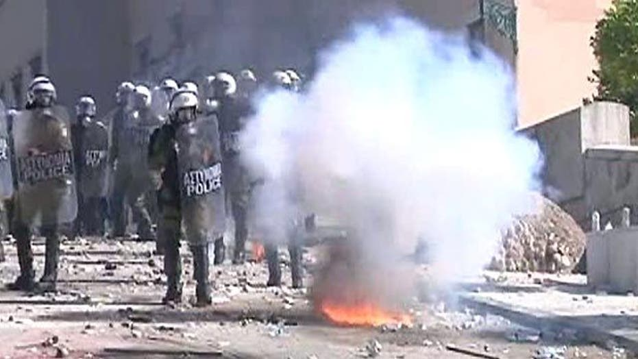 Greek Protesters Clash With Police