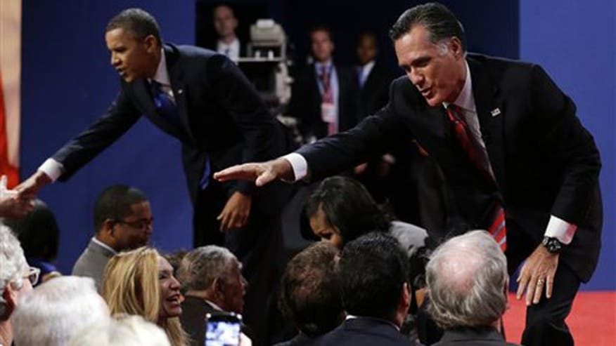 Romney strives to show steady hand in debate, swing-state outlook and two-week sprint.
