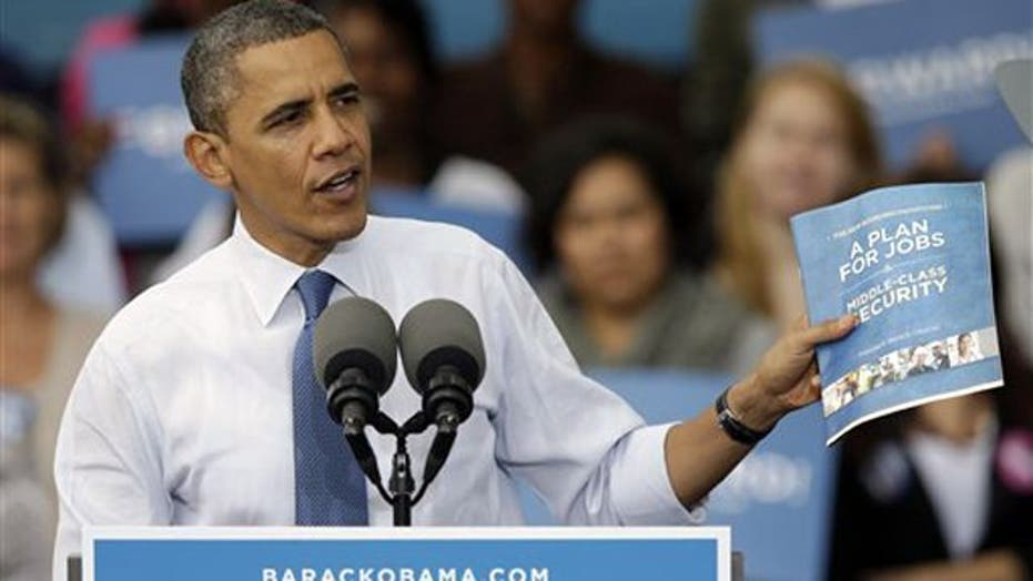 Obama touts 20-page pamphlet to bring economy back
