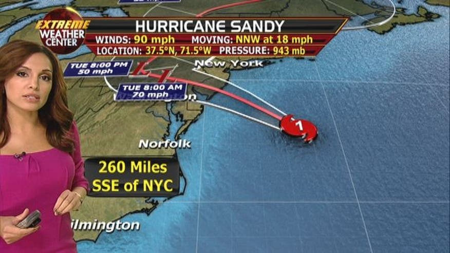 Hurricane Sandy is strengthening and now has maximum sustained winds of 90mph.
