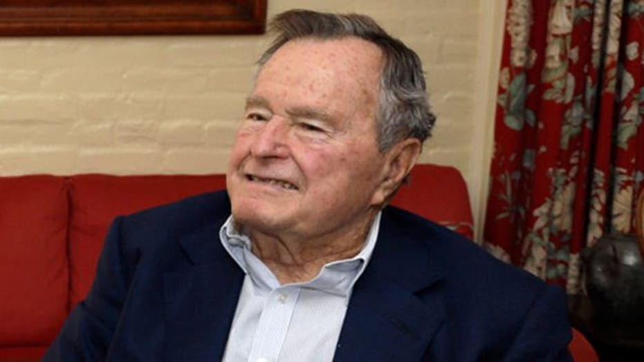 George H.W. Bush in hospital recovering from bronchitis